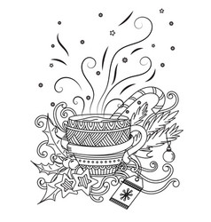 Cup with hot chocolate vector