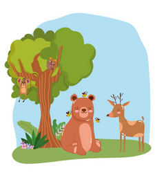 cute animals bear with bees and reindeer grass vector image