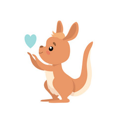 Cute baby kangaroo with heart brown wallaby vector