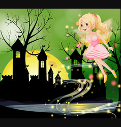 Cute fairy flying with castle towers in background vector