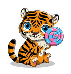 Cute hand drawn baby tiger with big blue eyes vector