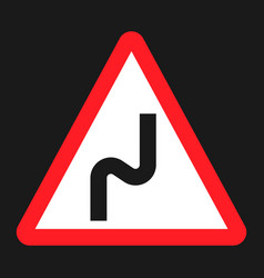 Dangerous double bend sign flat icon vector