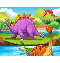 dinosaurs living river vector image