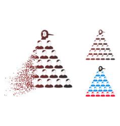 Disintegrating pixelated halftone bitcoin ponzi vector