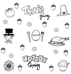 Doodle flat thanksgiving party set vector