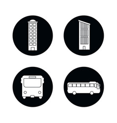 drawings buildings bus isolated vector image