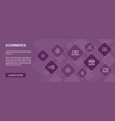 Ecommerce banner 10 icons conceptonline store vector