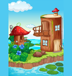 Fairy tale house in nature vector