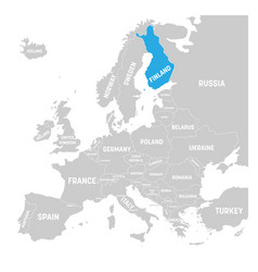 Finland marked blue in grey political map vector
