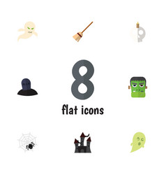 flat icon halloween set of fortress broom vector image