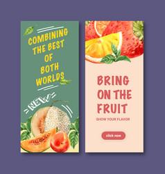 Flyer design with cantaloupe creative colorful vector
