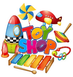 Font design for word toy shop with many toys vector