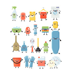 funny cartoon set of different cleaning tools vector image