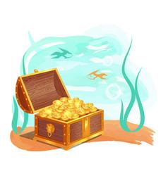 Gold treasures in wooden chest at ocean bottom vector