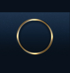 Golden circle frame with light and glitter vector
