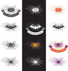 halloween with halloween logo elements vector image