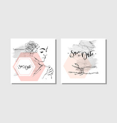 Hand drawn abstract marbled save date vector