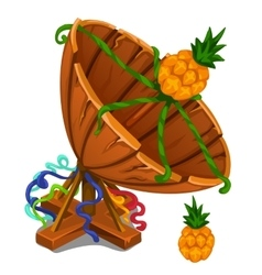 Handmade satellite dish from boards with pineapple vector image