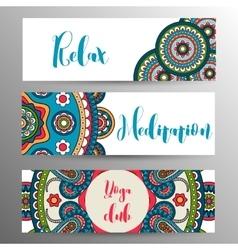 Horizontal mandala ornament banner vector image
