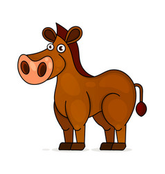 horse in cartoon style on white background vector image