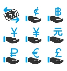 International Payments Flat Bicolor Icons vector
