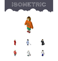 Isometric people set of lady female medic and vector