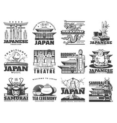 japanese culture tourism travel icons vector image