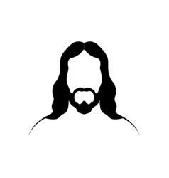 jesus christ portrait black silhouette logo vector image