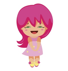 Kawaii cheerful magic-pink baby-grl vector