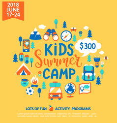 Kids summer camp with a lot of camping equipment vector