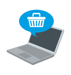 Laptop with speech bubble and basket shopping vector
