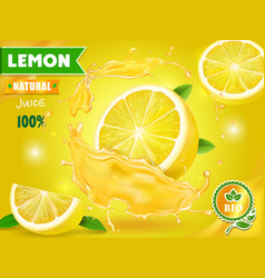 Lemon juice advertising with realistic fresh fruit vector