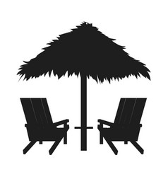 Loungers with straw umbrella abstract silhouette vector