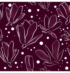 Magnolia Flowers on a Dark Background vector image