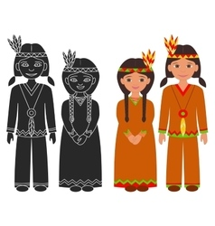 Native American Indian boy and girl vector