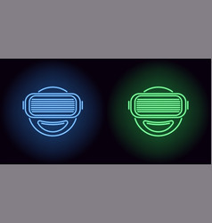 neon vr glasses in blue and green color vector image
