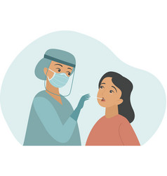 nurse taking covid-19 coronavirus test vector image