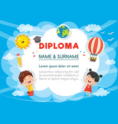 Of preschool kids diploma vector