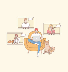 online meeting distant work teleconference vector image