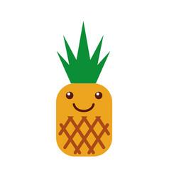 Pineapple tropical and exotic fruit kawaii vector