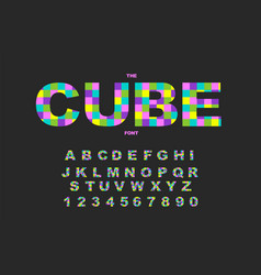 Pixel retro video game font 80 s retro alphabet vector