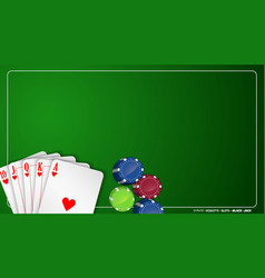 Poker cards and chips on green background vector