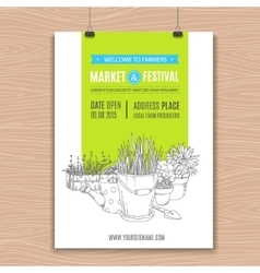 Poster with potted plants vector image