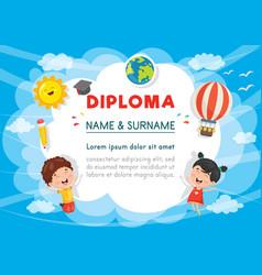 Preschool kids diploma vector