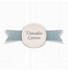 Ramadan Kareem realistic Emblem with Ribbon vector