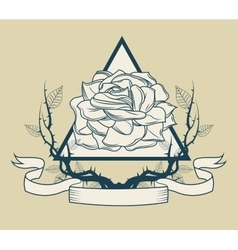 Rose with branches tattoo art design vector