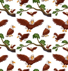 Seamless eagles flying and branch vector image