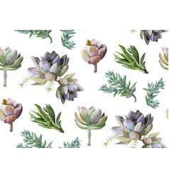 Seamless pattern of succulent cactus plants vector
