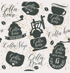 seamless pattern on theme of coffee house vector image
