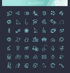 Set line icons allergy food and pollen vector